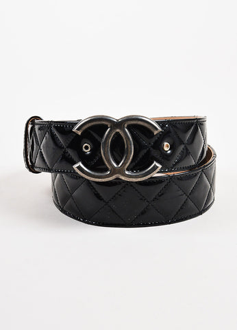 Chanel Black Patent Leather Silver Toned 'CC' Buckle Belt Frontview