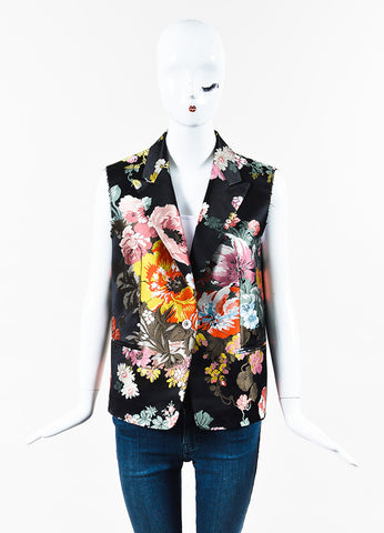 Dries Van Noten Black Multicolor Silk Floral Jacquard Peak Lapel Vest front