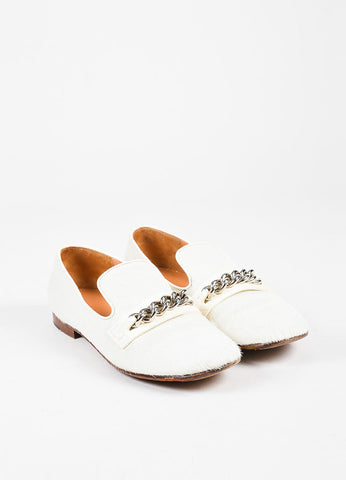 Celine Cream and Silver Pony Hair and Leather Chain Trimmed Loafers Frontview