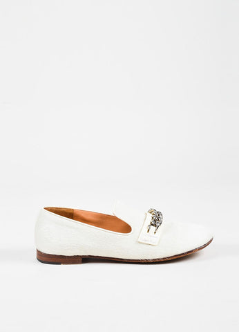 Celine Cream and Silver Pony Hair and Leather Chain Trimmed Loafers Sideview