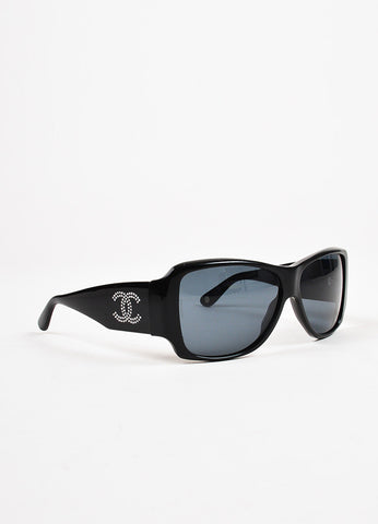 Chanel Black Swarovski Crystal 'CC' Oversized Sunglasses Side