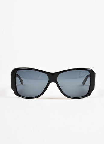 Chanel Black Swarovski Crystal 'CC' Oversized Sunglasses Front