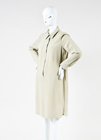 Max Mara Beige Silk Long Sleeve Shirt Dress Sideview