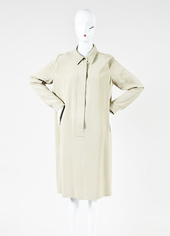 Max Mara Beige Silk Long Sleeve Shirt Dress Frontview