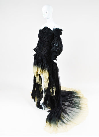 Alexander McQueen Black and Cream Silk Ombre Ruched Dress Gown Sideview