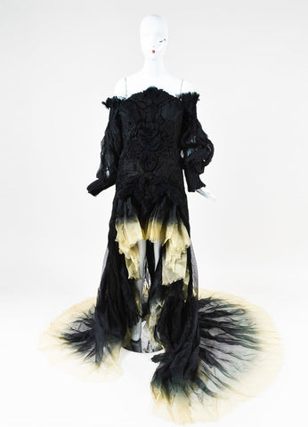 Alexander McQueen Black and Cream Silk Ombre Ruched Dress Gown Frontview