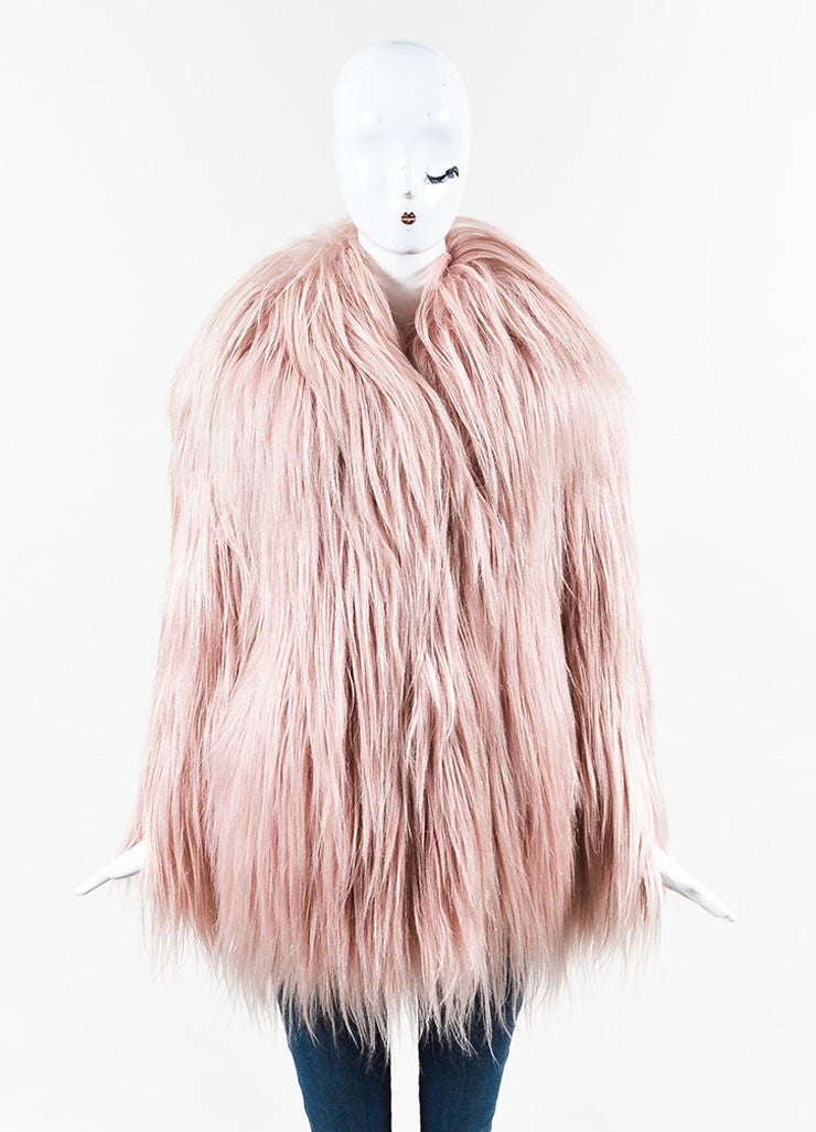 Gucci AW14 Runway Editorial Pastel Pink Goat Hair Coat Frontview