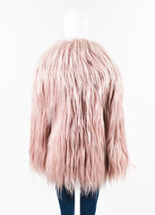 Gucci AW14 Runway Editorial Pastel Pink Goat Hair Coat Backview