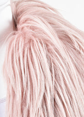 Gucci AW14 Runway Editorial Pastel Pink Goat Hair Coat Detail