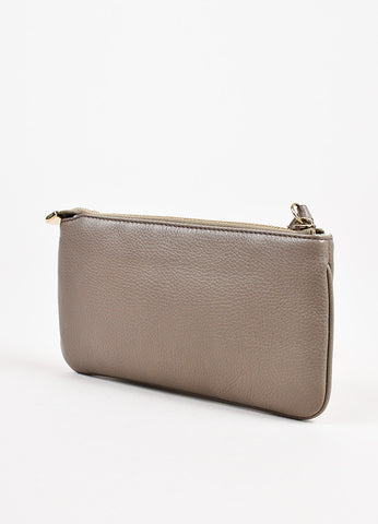 "Gucci Taupe Grey Leather 'GG' Zipped ""Soho"" Wristlet Pouch Sideview"