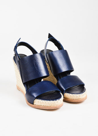 Balenciaga Navy Blue Espadrille Wedge Sandals Front