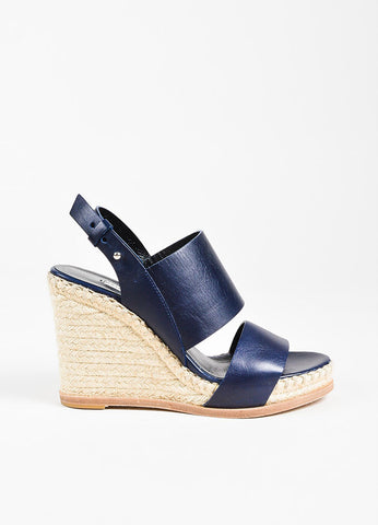Balenciaga Navy Blue Espadrille Wedge Sandals Side