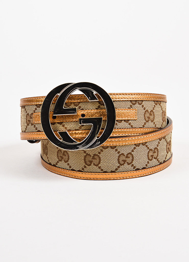 "Men's Gucci Brown Metallic ""GG"" Monogram Canvas Belt Front"