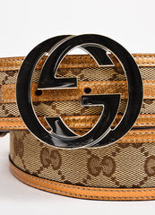 "Men's Gucci Brown Metallic ""GG"" Monogram Canvas Belt Detail"