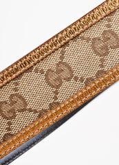"Men's Gucci Brown Metallic ""GG"" Monogram Canvas Belt Detail 2"