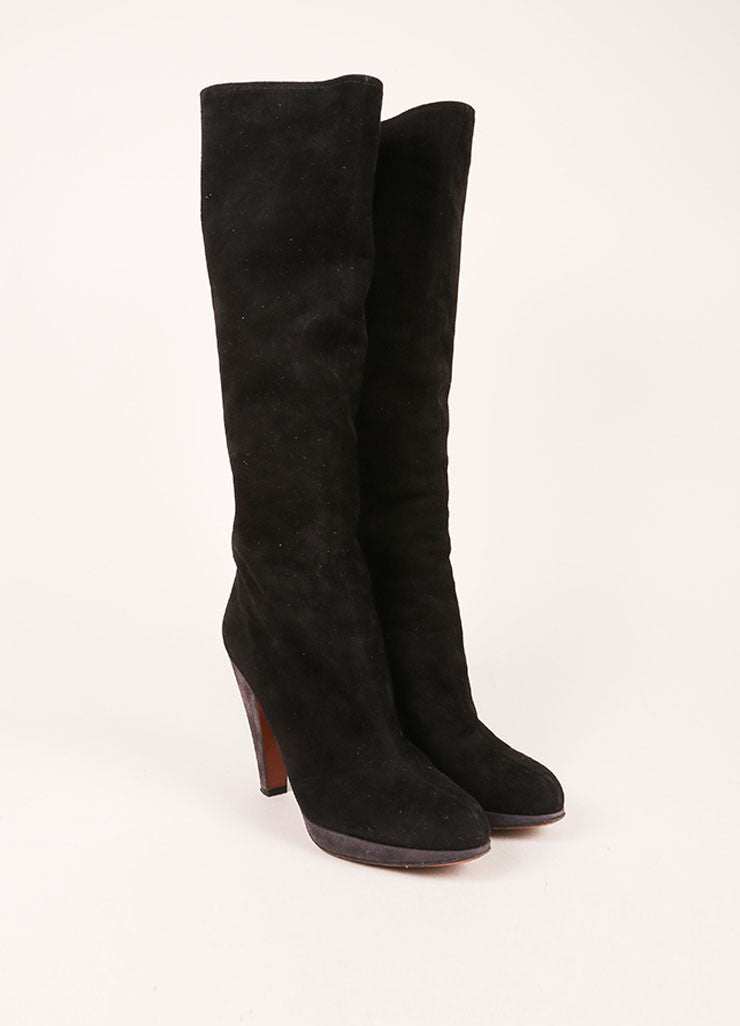 Alaia Black and Grey Suede Leather Contrast Knee High Boots Frontview