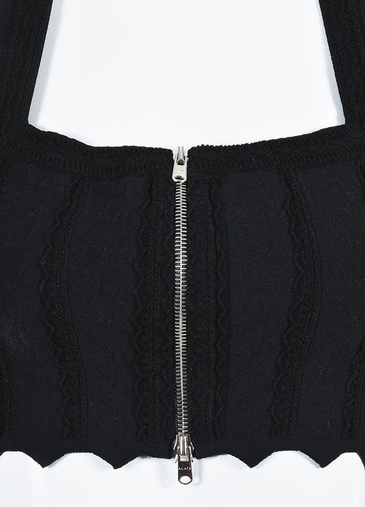 Alaia Black Matelasse Knit Zip Front Sleeveless Fitted Crop Top Detail