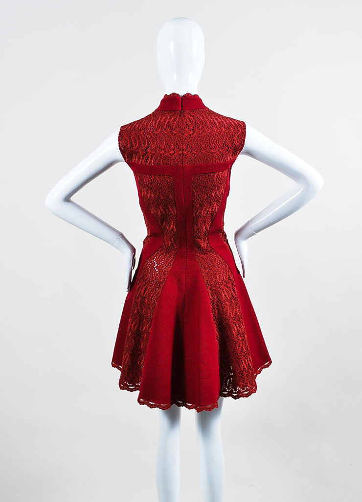 Burgundy Red Alexander McQueen Lace Paneled Fit and Flare Dress Backview