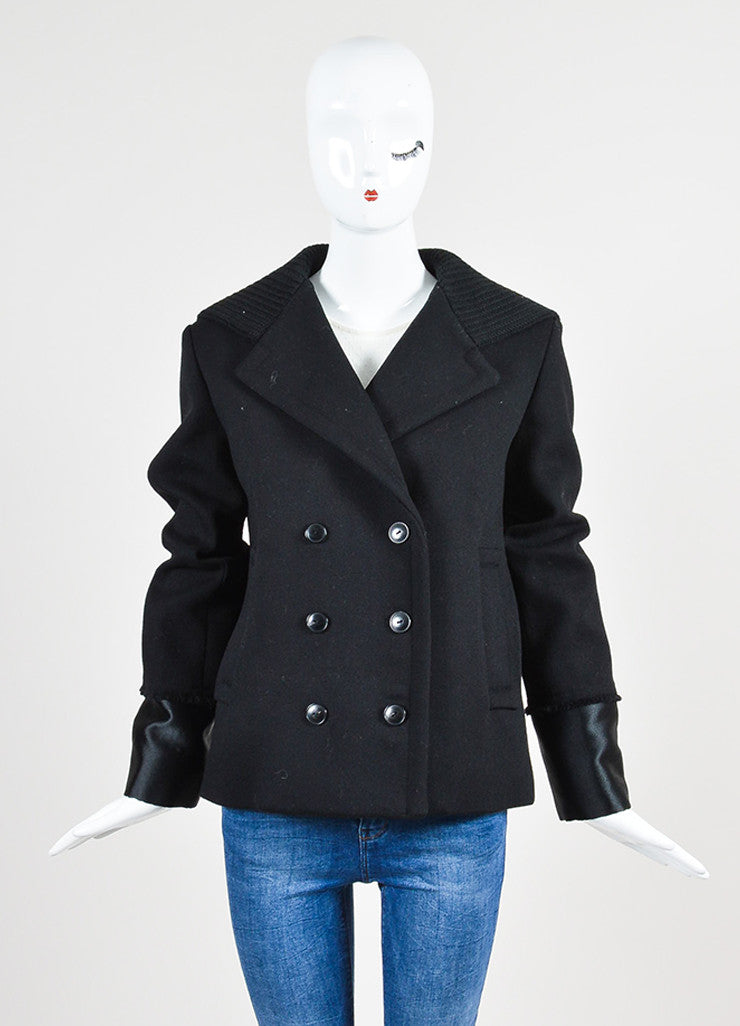 Black Alexander Wang Wool Hooded Double Breasted Peacoat Frontview 2