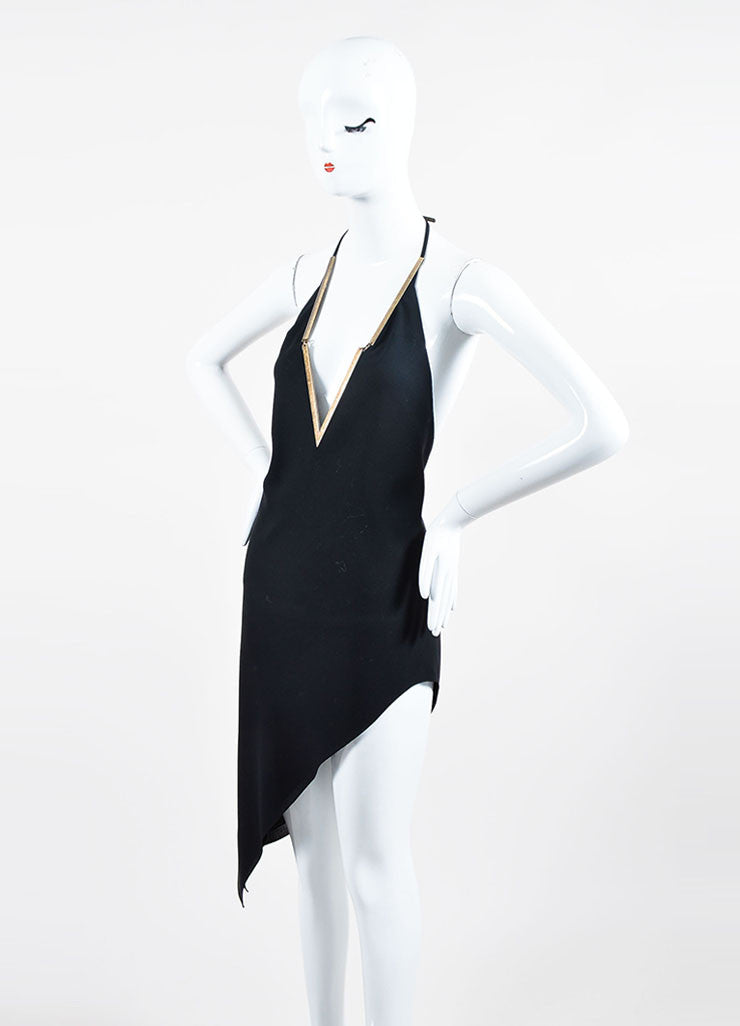 Black Anthony Vaccarello Brass V-Neck Asymmetrical Halter Dress Sideview