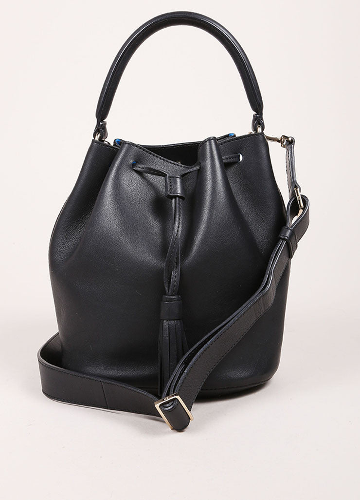 "Anya Hindmarch Black Leather ""Vaughan"" Drawstring Cross Body Bag Frontview"