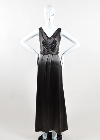 Armani Collezioni Grey Satin Pleated Full Length Sleeveless Gown Frontview