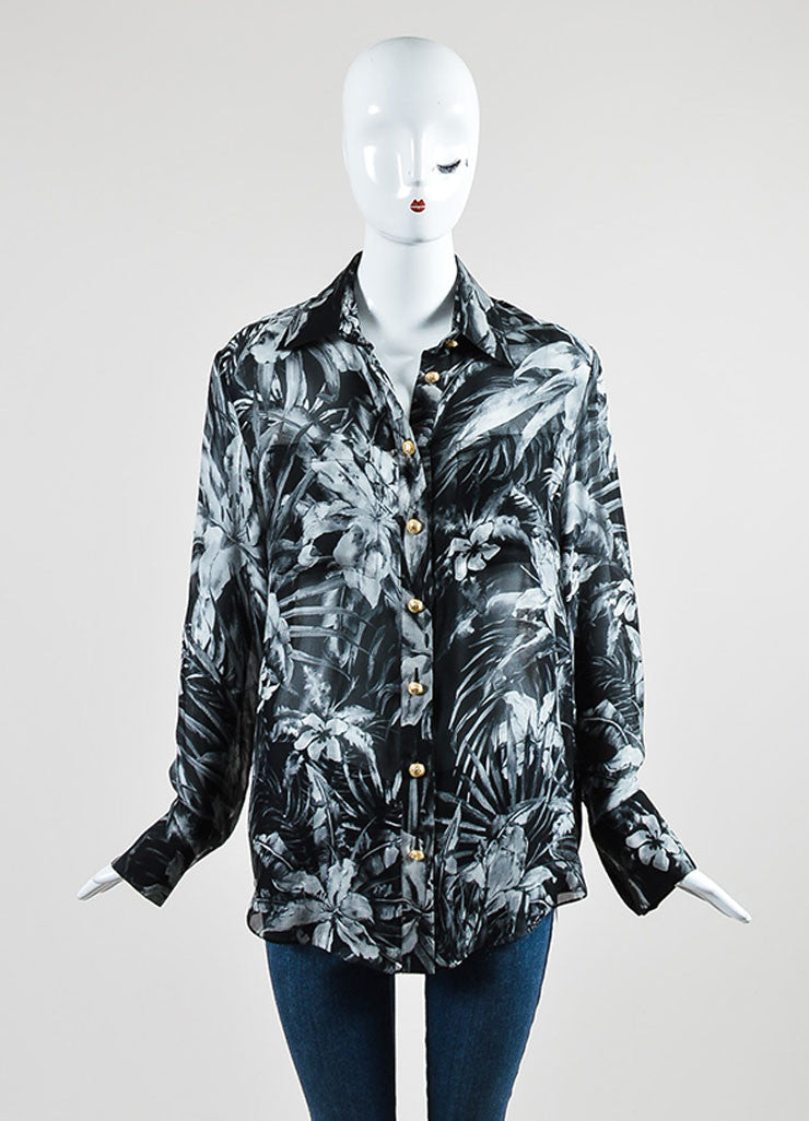Black and Grey Balmain Silk Chiffon Sheer Floral Print Long Sleeve Button Up Top Frontview
