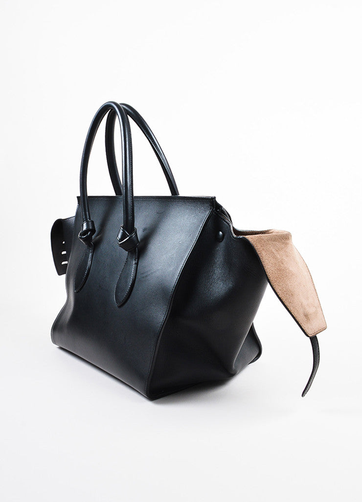 "Celine Black Leather Flap Top ""Medium Tie"" Tote Bag Sideview"