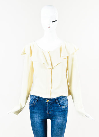 Chanel 00A Cream Crepe Ruffle Neck Long Sleeve Back Cut Out Top