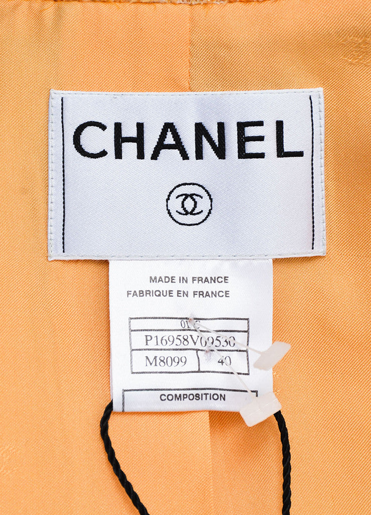 Chanel Orange Textured Metallic Notch Collar Long Button Coat Brand