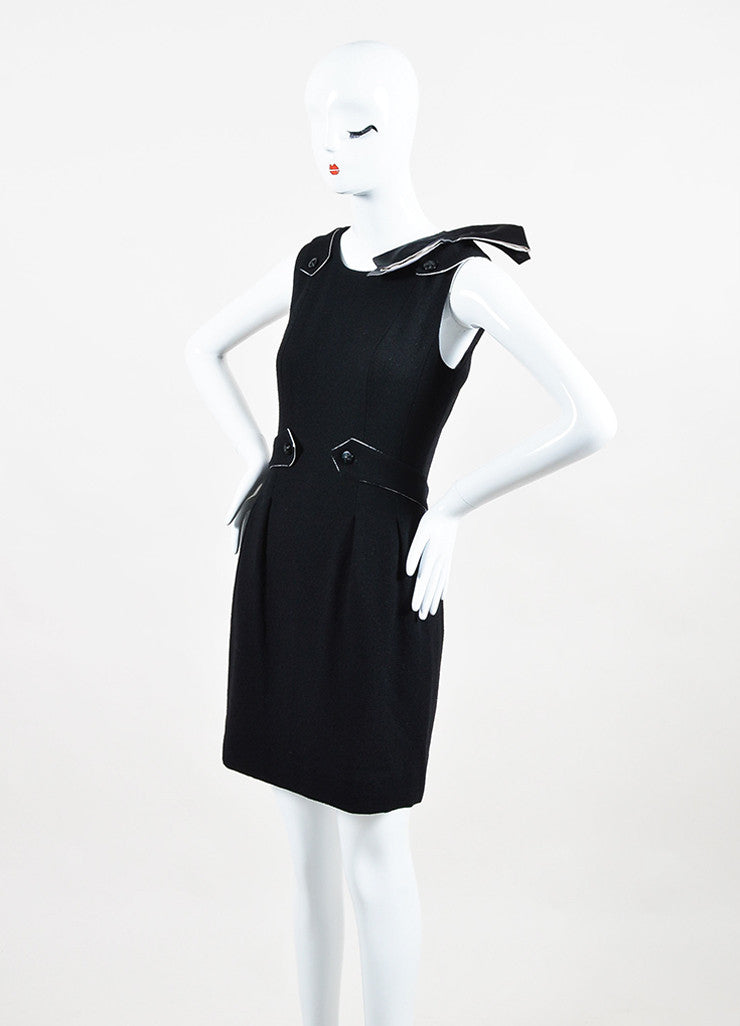 Chanel Black and White Wool and Silk Bow Brooch Detailed Sleeveless Dress Sideview
