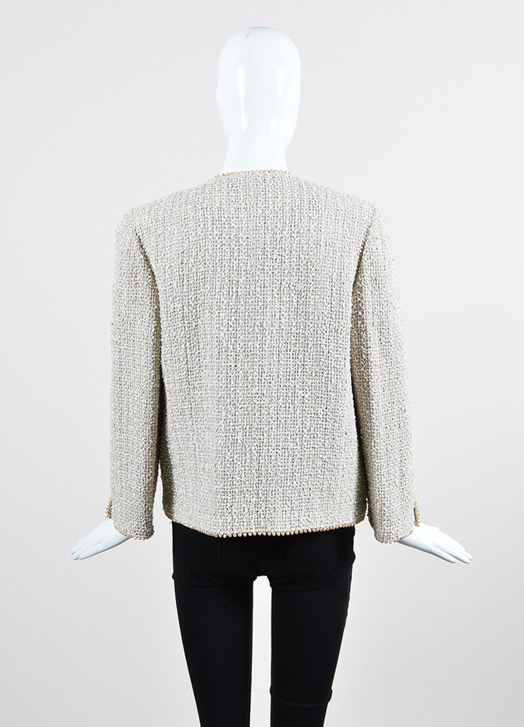 Cream Chanel Woven Tweed Faux Pearl Embellished Jacket Backview
