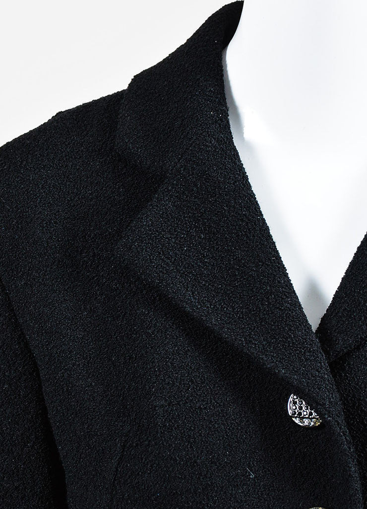 Black Chanel Notch Collar Wool Four Button Classic Short Jacket Detail