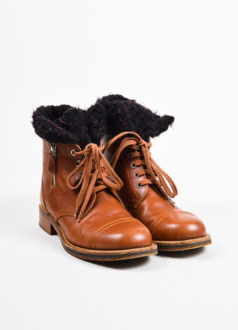 Chanel Brown, Black, and Red Leather Shearling 'CC' Logo Lace Up Boots Frontview