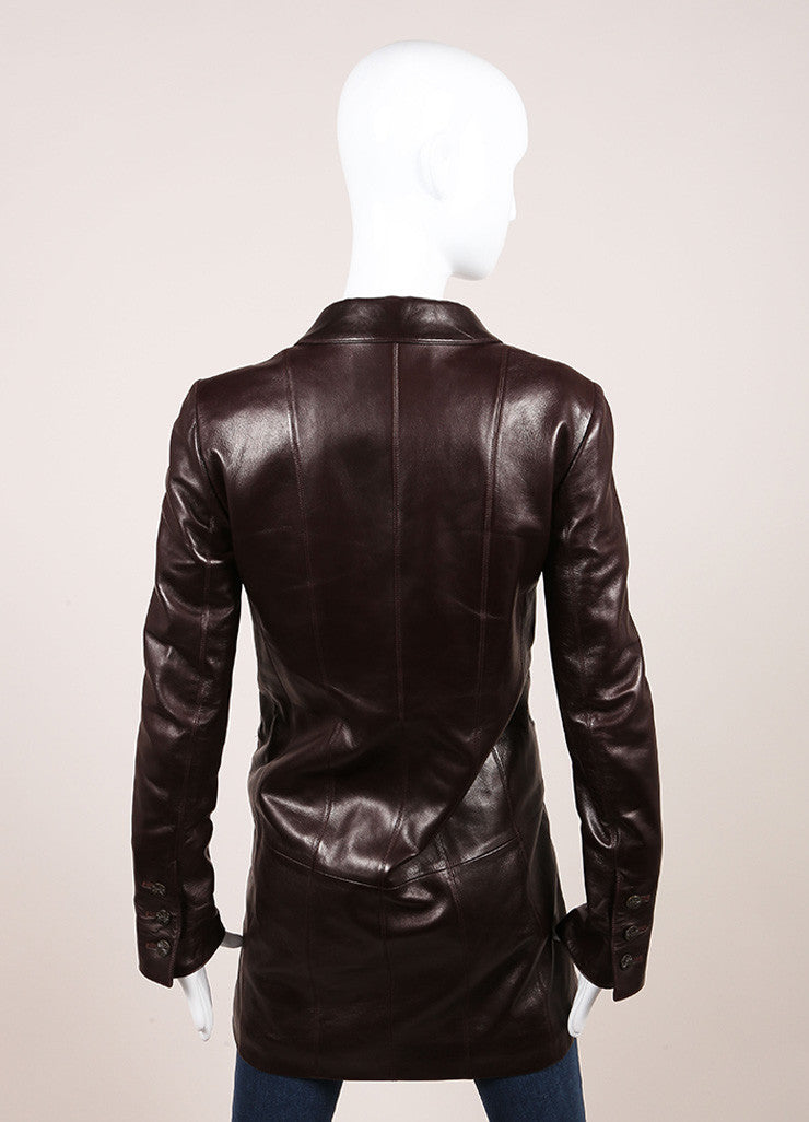 "Chanel Brown Leather ""CC"" Button Long Jacket Backview"