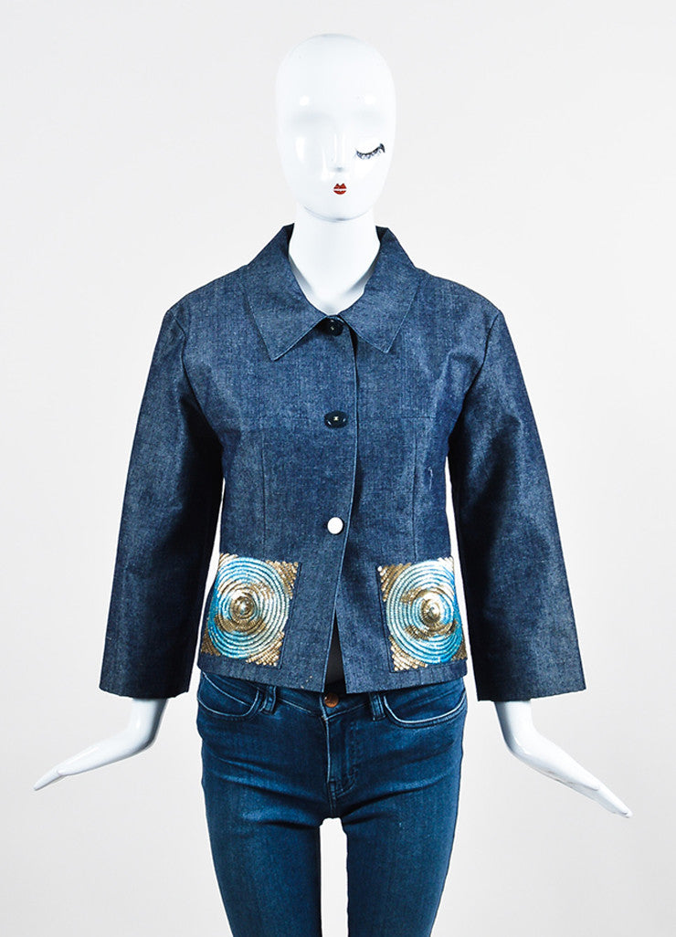 Chanel Blue Denim Sequin Pocket Pointed Collar Jacket Frontview 2