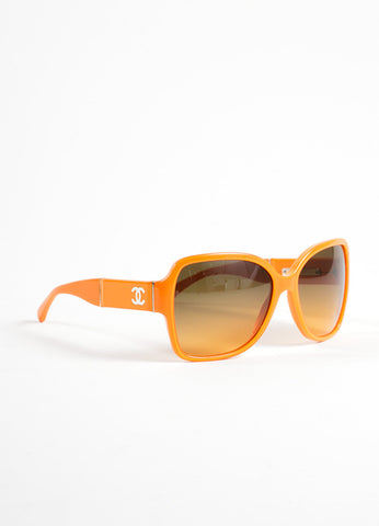 "Chanel Orange Plastic and Patent Leather ""CC"" Oversized ""5230Q"" Sunglasses Sideview"