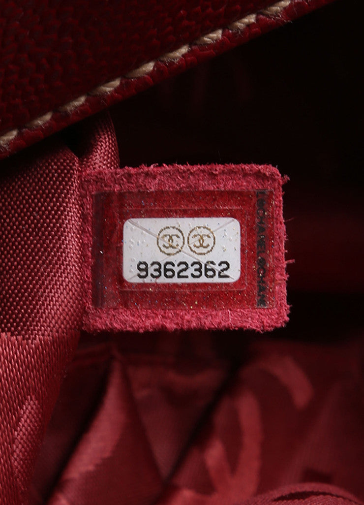 "Chanel Red Caviar Leather ""CC"" Embroidered Logo Flap Handbag Serial"