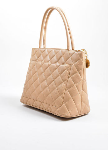 Beige Chanel Caviar Leather 'CC' Logo Quilted Medallion Tote Bag Sideview