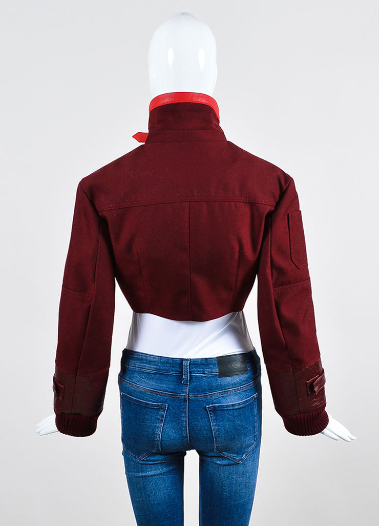 Christian Dior Maroon Red Cropped Long Sleeve Jacket Backview