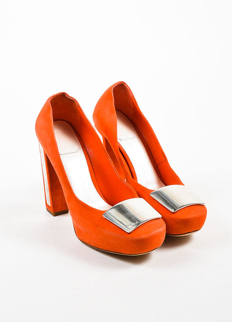 Orange and Silver Christian Dior Suede Square Toe Chunky Heel Pump Frontview