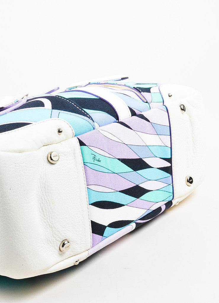 Emilio Pucci White, Lavender, and Teal Canvas Leather Trim Printed Pockets Handbag Bottom View