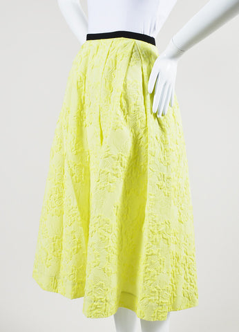 "Erdem Neon Yellow Cotton Blend ""Imari"" Midi Skirt Sideview"