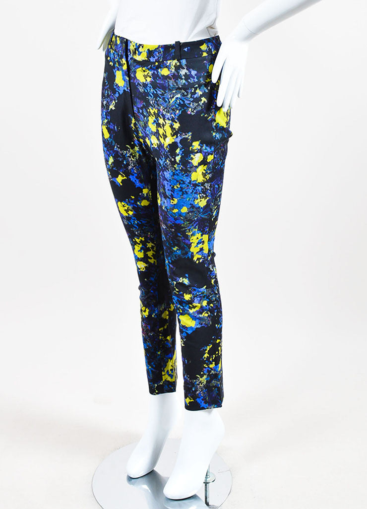 "Blue and Yellow Erdem Cotton Printed ""Melinda"" Skinny Leg Pants Sideview"