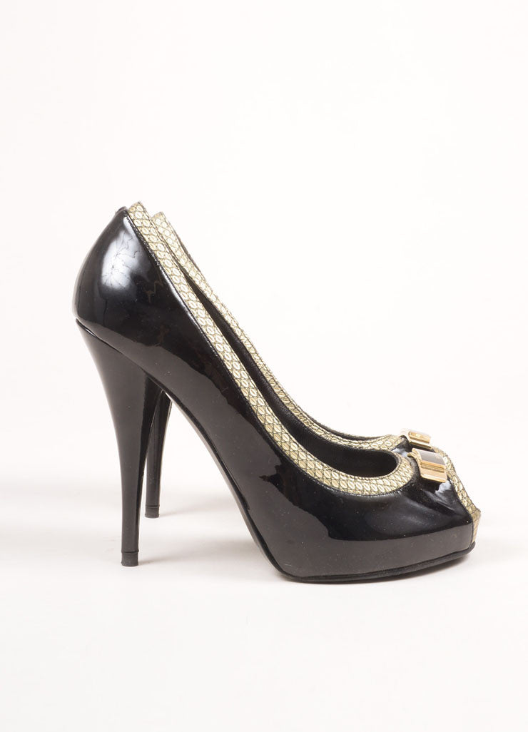 Fendi Black and Gold Toned Patent Leather Metallic Trim Bow Peep Toe Pumps Sideview