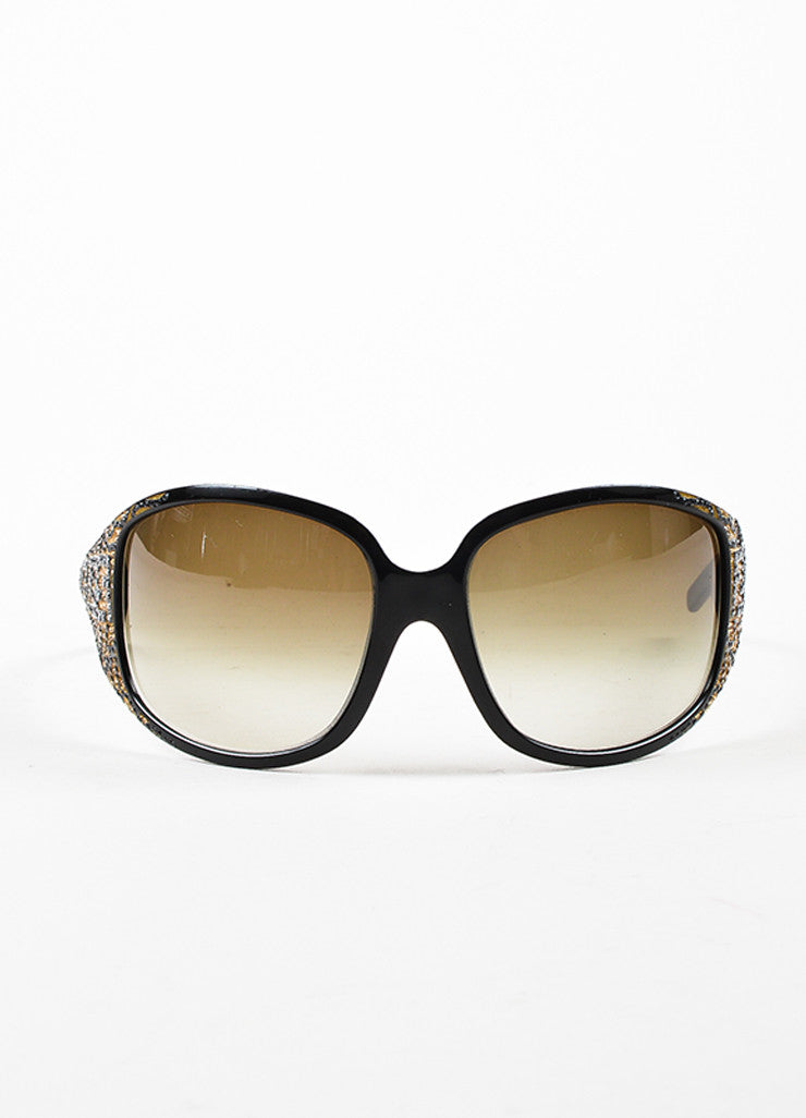 Fendi Limited Edition Black and Brown Oversized Rhinestone Logo Sunglasses Frontview