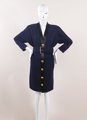 Gianfranco Ferre Navy and Black Wool 3/4 Sleeve Belted Button Down Dress Frontview