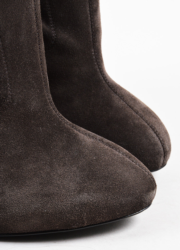 Taupe Gray Giuseppe Zanotti Suede Zipper High Heeled Booties Detail