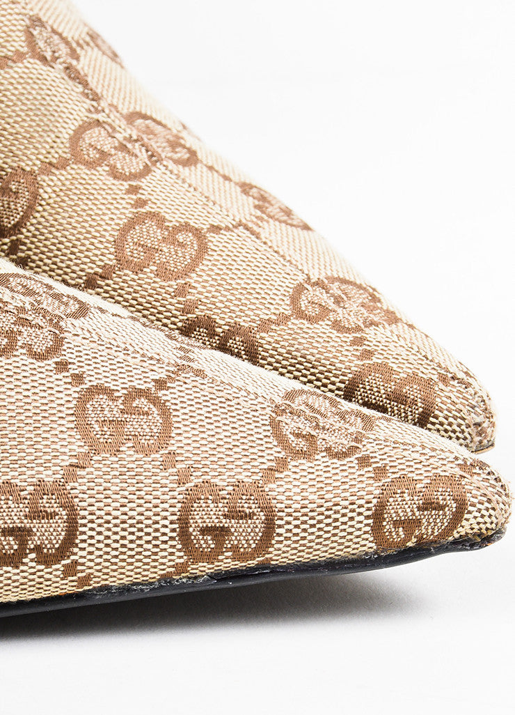 Gucci Brown Monogram Canvas Pointed Toe Booties Detail