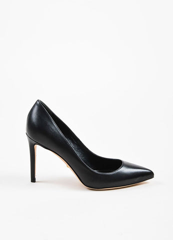 "Black Gucci Leather Pointed Toe Stiletto Heel ""Brooke"" Pumps Side"